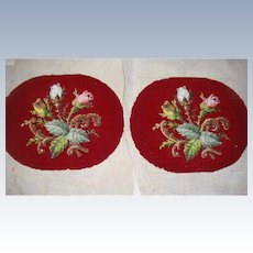 Pair of burgundy bead work ovals for framing