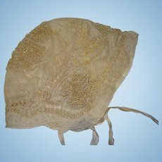 Beautiful silk lined ribbon work bonnet