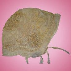 Beautiful silk lined ribbon work bonnet