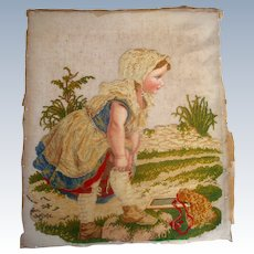 Large finely worked needle point of child