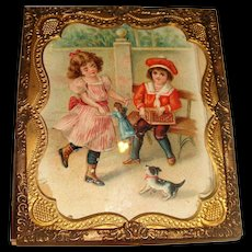 Ormolu edged miniature picture with children