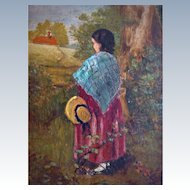 Charming oil on board girl in wood