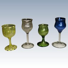 Early miniature colored wine glasses for dolls house