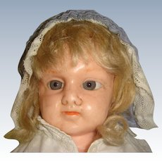Wax shoulder plate doll nicely dressed