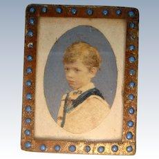 Tiny antique water color portrait of boy