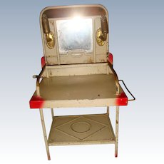 German tin plate washstand with candelabra lights and mirror