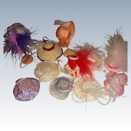 Collection of miniature hats for hat shop or small dolls
