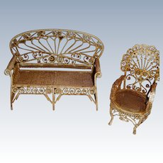 Wire work garden settee and chair for doll or dolls house