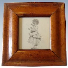Early maple framed drawing girl with bird