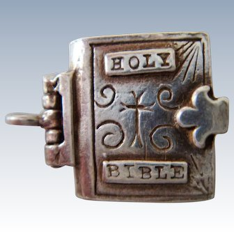Tiny silver miniature charm of holy Bible