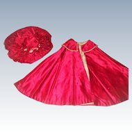 Beautiful hand stitched red silk cape and hat