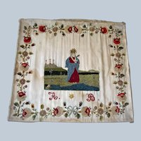 Early Antique Spanish Silk embroidered sampler