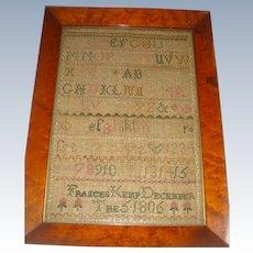 Sampler by Frances Kemp dated December 1806