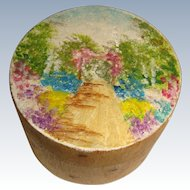 Hand painted wooden  hatbox