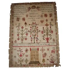 Georgian sampler with house by Hanah Newton dated 1823