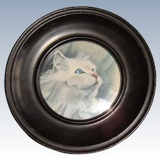 Miniature water color of white persian cat