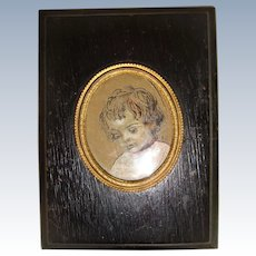 Miniature Victorian pastel picture of child