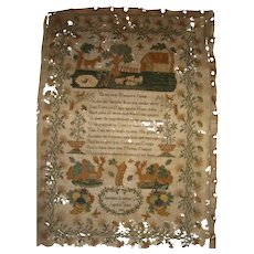 Sampler by Charlotte Louisa Cole dated 1821 with sheep verse and stags