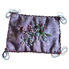 Early bead work  pin cushion with flowers