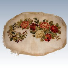Early 19th century embroidery stump work with roses