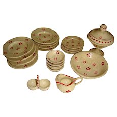 Set of wooden dinner service for the dolls house