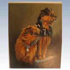 Stunning oil pair of Yorkshire terriers