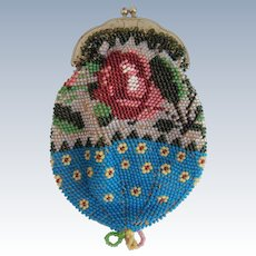 Pretty small bead work purse with roses