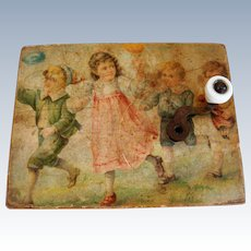 Antique musical box with 3 melodies and children on