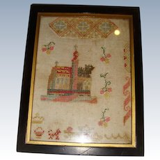 Small early 19th century sampler with buildings