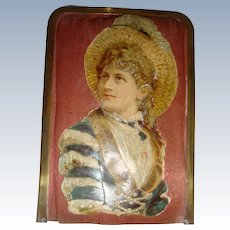 Victorian needle case by excelsior with lady