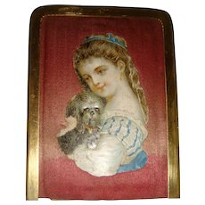 Victorian silk needle case with girl and dog Christmas gift