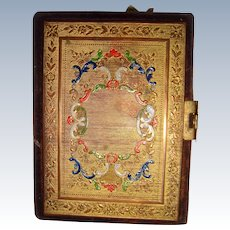 Ormolu front and velvet covered needle book