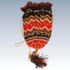 Colorful very finely knitted reticule bag