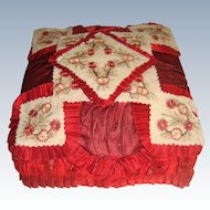 Beautiful silk covered embroidered cologne box