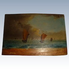 Miniature oil painting on wood of sailing ships