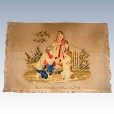 Antique sampler by Emma Ashington 1854