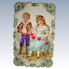 Litho card chocolate card of children