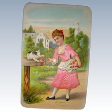 Litho print card girl with cat