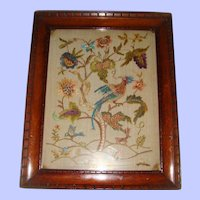 Silk embroidered picture birds flowers 19th century