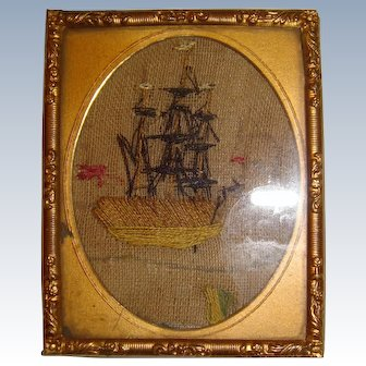 Miniature needle work of sailing ship 18th century