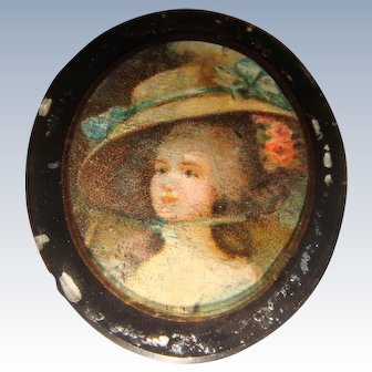 Miniature back painted glass picture of lady eglomise frame
