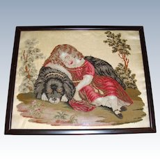 Sampler picture on silk girl with dog