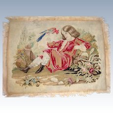 Late 18th century sampler  of girl with parrot