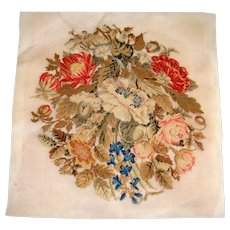 Berlin work embroidery of flowers