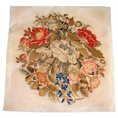 Berlin work embroidery of flowers