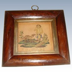 Early 19th century sampler picture in rosewood frame