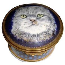 Enamel pot with cat on objets d'art England