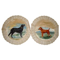 Pair hand painted silk mats with dogs