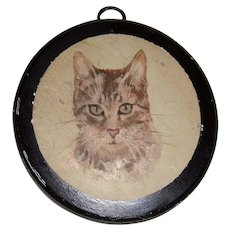 Water color on wood of a cat