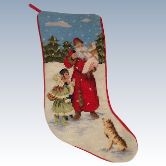 Vintage needlework christmas stocking